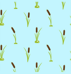Cattail plant seamless pattern vector