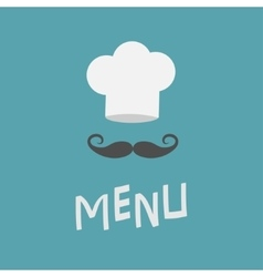 Chef hat and big mustache Menu card Curl vector