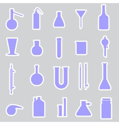 chemistry laboratory glassware stickers eps10 vector image