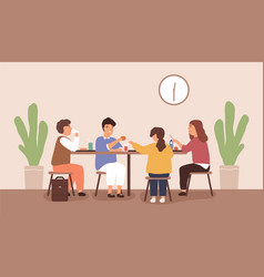 children sitting and eating at table at school vector image