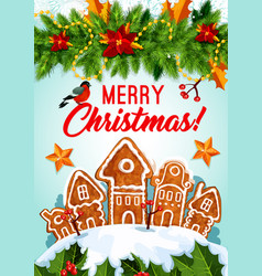 Christmas cookie and garland new year card design vector