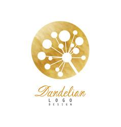 Circular dandelion logo design natural symbol vector