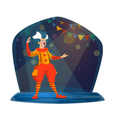 circus show of clown in bright costume and makeup vector image