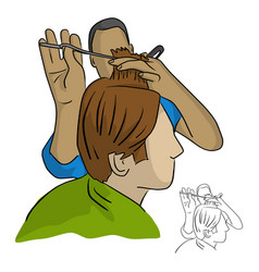 close-up hairdresser does the hair styling vector image