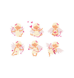 Collection cute cupid girls in different vector