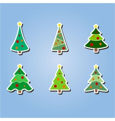 color icons with Christmas trees vector image