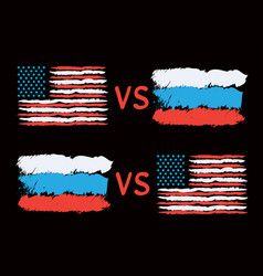 Conflict between usa and russia vector