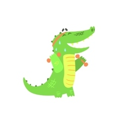 Crocodile With Dumbbells Exercising In Gym vector image