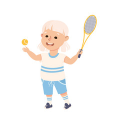 Cute girl playing table tennis kid doing sports vector