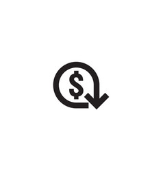 Dollar decrease icon money symbol with arrow vector