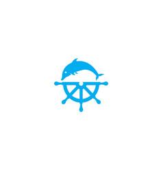 dolphine icon and ship wheel logo design vector image