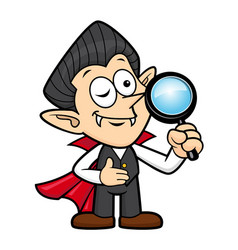 Dracula character is holding a magnifying glass vector