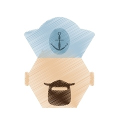 Drawing face sailor man bearded cap nautical vector