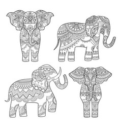 elephant decorative pattern indian motif tribal vector image