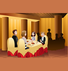 Family eating out in a restaurant vector