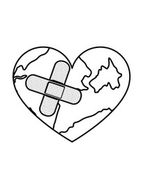 Figure earth planet heart with band aid icon vector