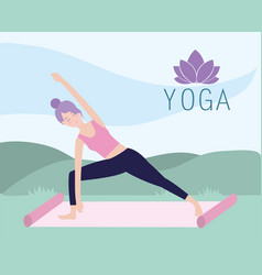 firtness woman practice yoga in the mat vector image