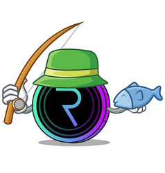 Fishing request network coin mascot cartoon vector