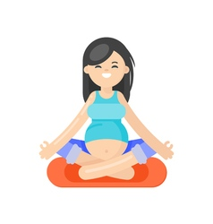 Flat style of pregnant woman doing yoga vector
