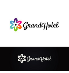 flower grand hotel logo design symbol vector image