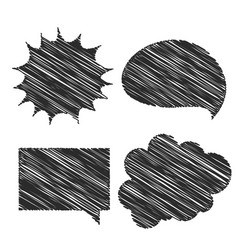 four hand scribble chat bubble design vector image