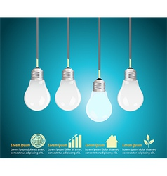Four light bulbs hanging against blue background vector image