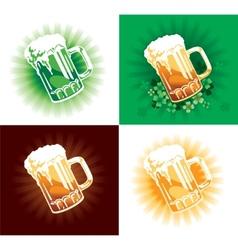 Four variation of beer tankards of stpatrick holid vector