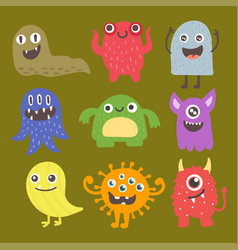 Funny cartoon monster cute alien character vector