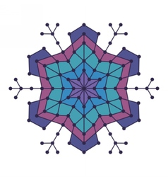 Geometric snowflake with lines and circles vector image