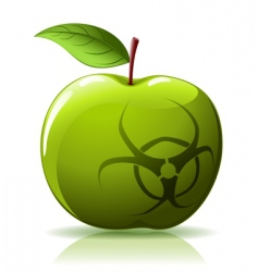 green apple with biohazard sing vector image