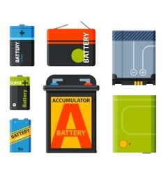 group different batteries icons vector image