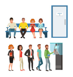 groups of people standing and sitting in queues vector image