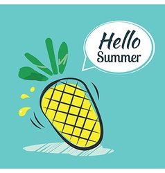 Hand drawing hello summer card vector