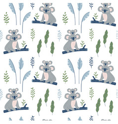 Hand drawn seamless pattern with koala mother and vector