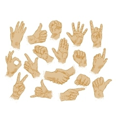 Hand gestures set of symbols and icons vector