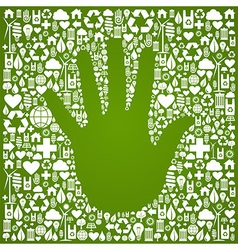 Hand with green icons background vector