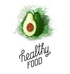 Healthy food cartoon avocado with green vector