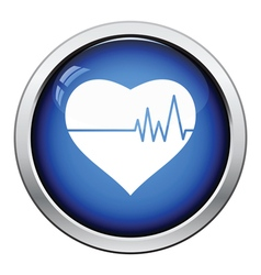 Heart with cardio diagram icon vector