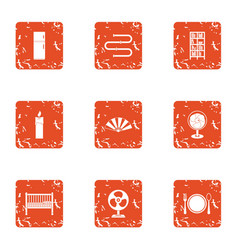 Home cuisine icons set grunge style vector