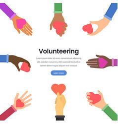 International volunteering flat webpage vector