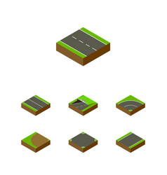 Isometric way set of single-lane turning subway vector