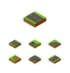 Isometric way set of single-lane turning subway vector
