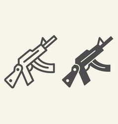 Kalashnikov assault rifle line and glyph icon vector