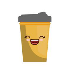 Kawaii cup icon vector