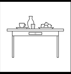 Kitchen table with utensils vector