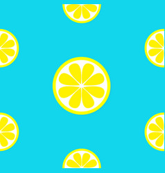 Lemon fruit icon set yellow slice cut half vector