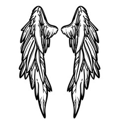 Line art of angel wings hand drawn vector