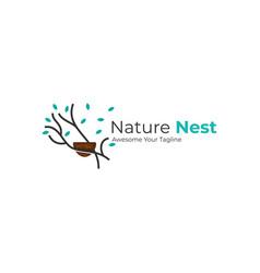 Logo nature nest line art style vector