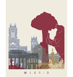 Madrid skyline poster vector