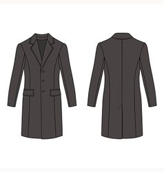 Mans coat outlined template front back view vector